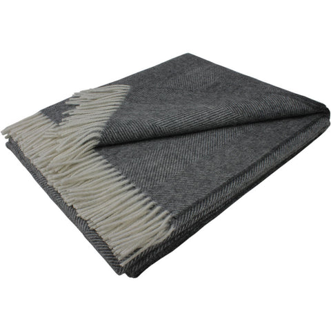 Bronte Throw Alpaca Blend Herringbone - Grey