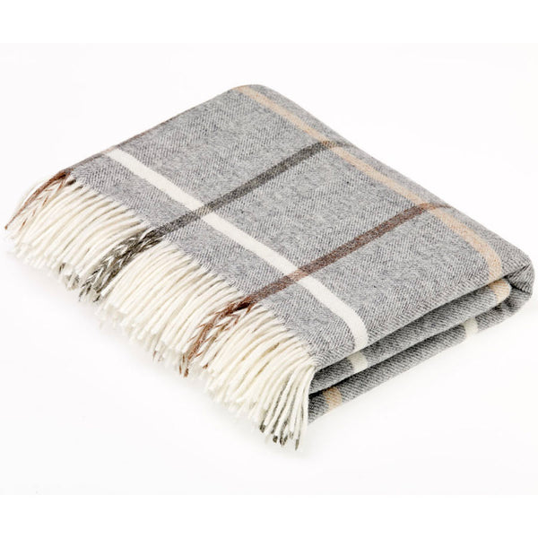 Bronte Throw Shetland Windowpane Grey