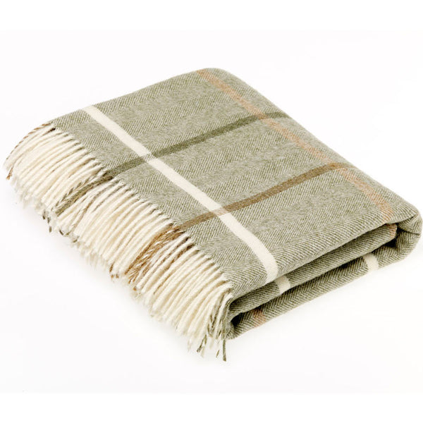 Bronte Throw Shetland Windowpane - Sage