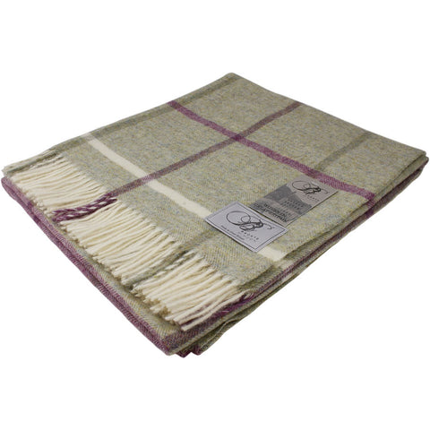 Bronte Throw Shetland Windowpane - Fern