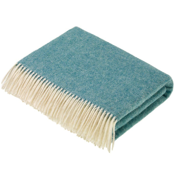Bronte by Moon Herringbone Aqua Throw