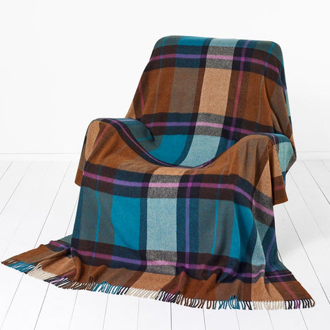 Bronte By Moon Madison Check Teal Throw