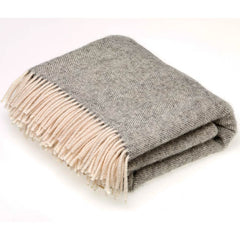 Bronte Throw Herringbone Grey Natural Collection