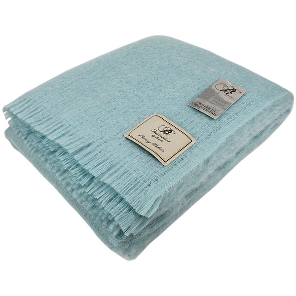 Bronte by Moon Mohair Throw Duck Egg