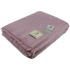 Bronte by Moon Mohair Throw Dusky Pink