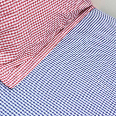 Fitted Sheet Gingham Navy - Cot Bed