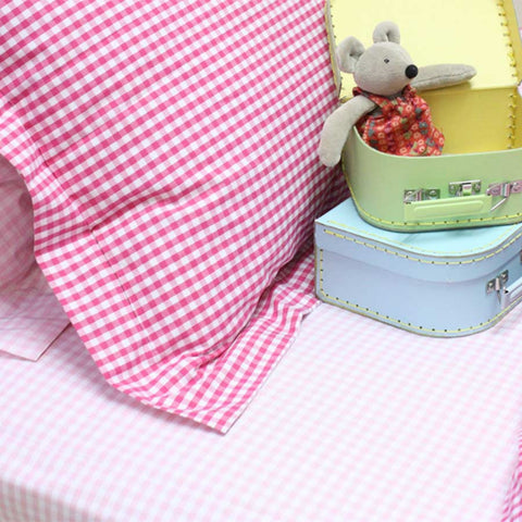 Fitted Sheet Gingham Pink - Single