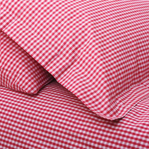 Fitted Sheet Gingham Red - Cot Bed
