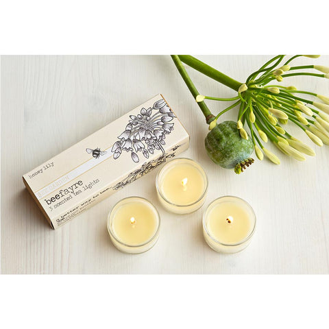 Beefayre Honey Lily Scented Glass Tea Lights