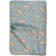 IB Laursen quilt light blue with flower pattern