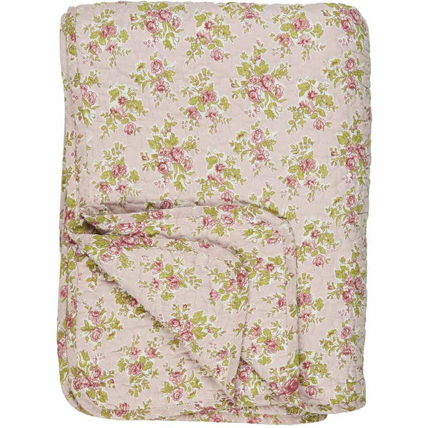 IB Laursen Quilt Light Pink With Red Roses 130 x 180cm