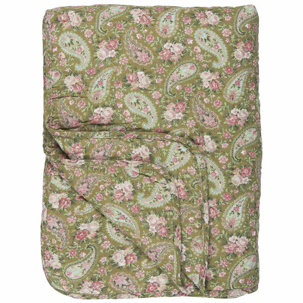IB Laursen Quilt Green With Faded Rose Paisley 130 x 180cm