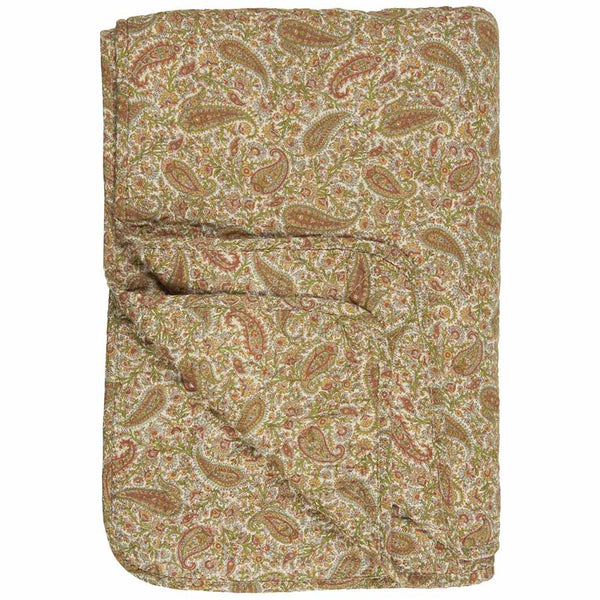 IB Laursen Quilt Paisley With Green Mustard And Rust Colours 130 x 180cm