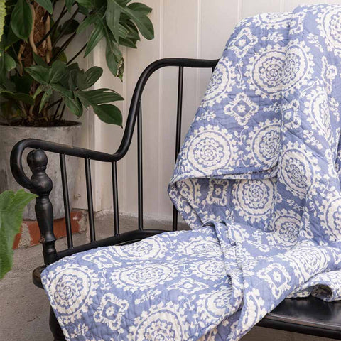 IB Laursen Quilt Blue With Circle Pattern 130 x 180cm