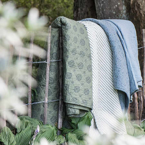 IB Laursen Quilt Olive With Grey Pattern 130 x 180cm