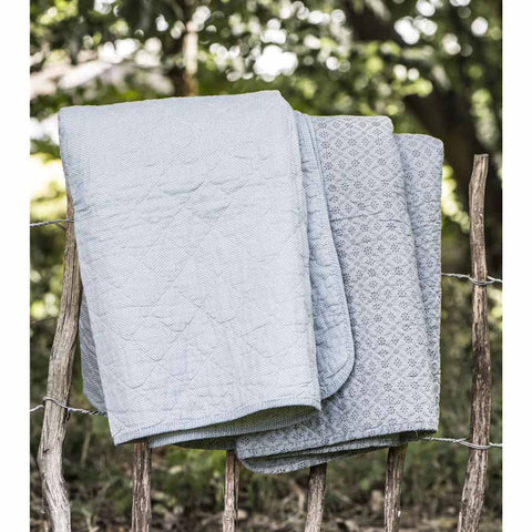 IB Laursen Quilt Dusty Blue With White Dot 130 x 180cm