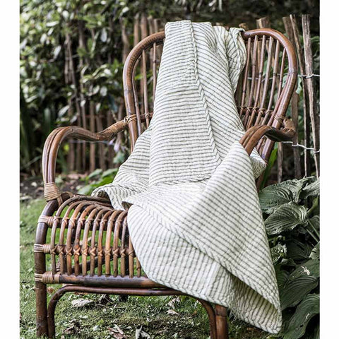 IB Laursen Quilt White With Olive Stripes 130 x 180cm