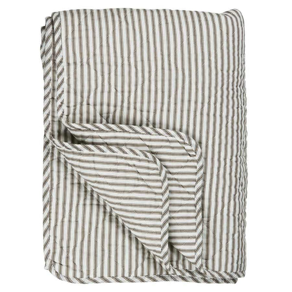 IB Laursen Quilt White With Soil Coloured Stripes 130 x 180cm