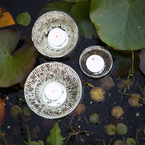 Nkuku Jasmine Floating Tea Light Holder - Antique Silver