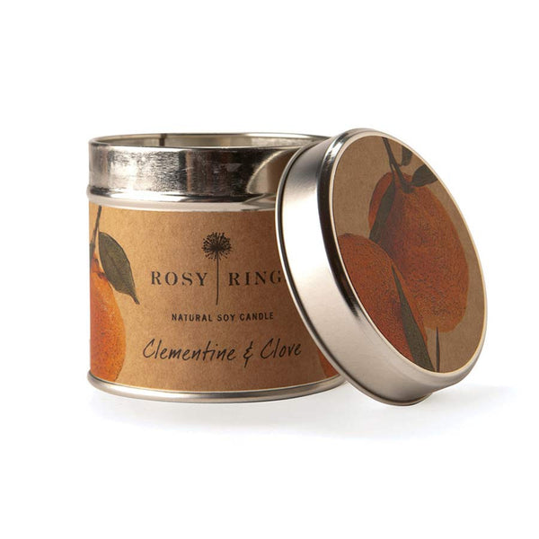 Rosy Rings Soy Tin Candle - Clementine & Clove 50Hr