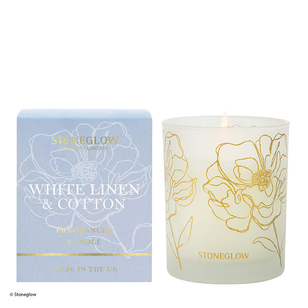 Stoneglow Day Flower New Candle - White Linen & Cotton