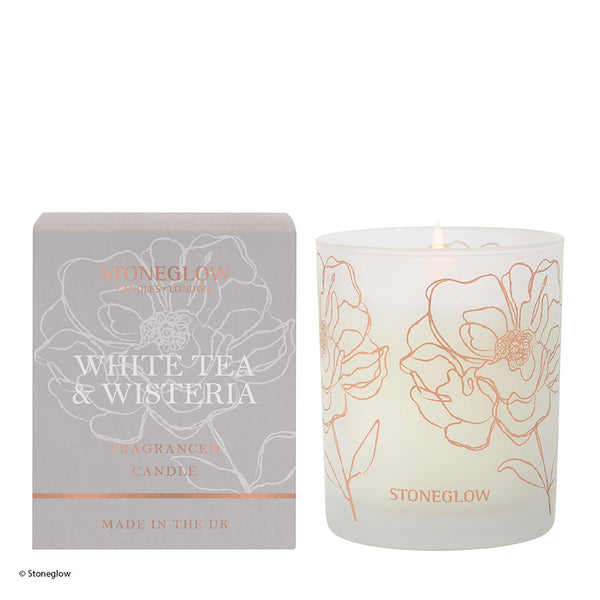 Stoneglow Day Flower New Candle - White Tea & Wisteria
