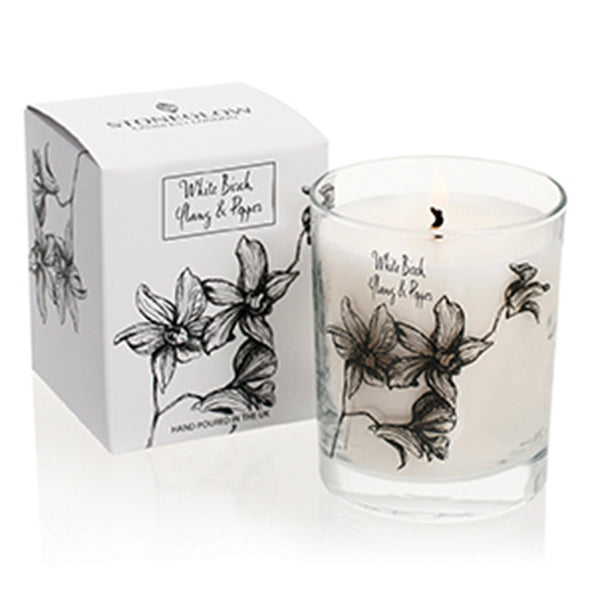 Stoneglow White Orchid Candle - White Birch, Ylang & Pepper