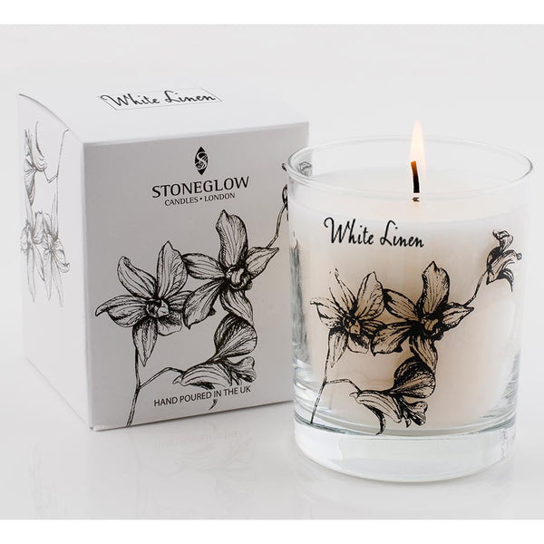 Stoneglow White Orchid Candle - White Linen