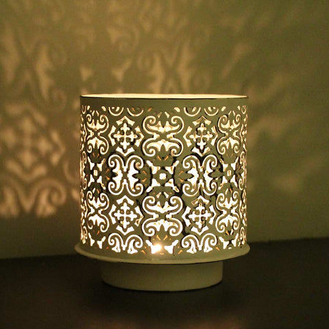 Nkuku Taj Tea Light Holder - Distressed White