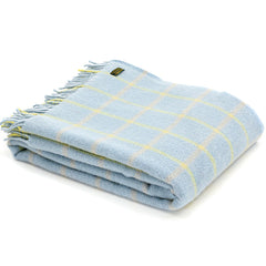 Tweedmill Throw Checkered Check Duck Egg