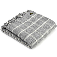 Tweedmill Throw Checkered Check Grey