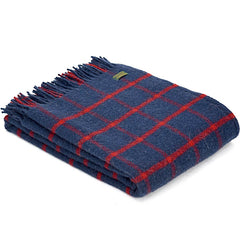 Tweedmill Throw Checkered Check Navy & Red
