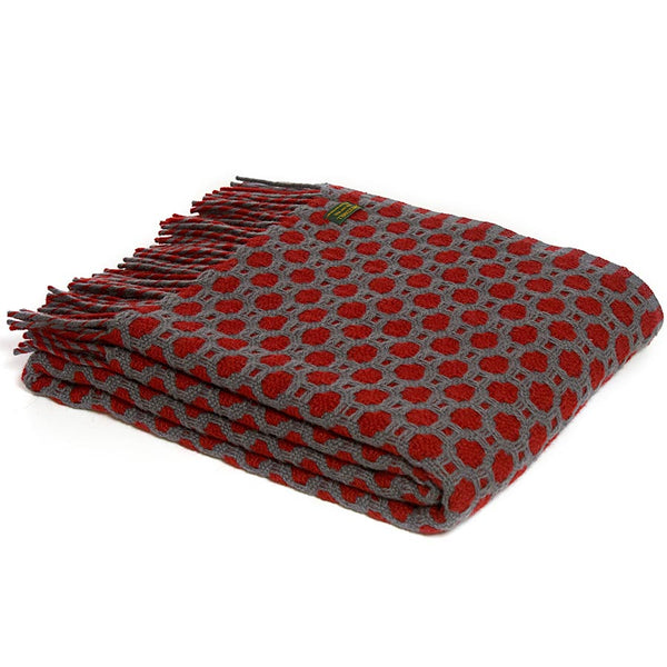 Tweedmill Throw Crossroads Solid Grey - Red