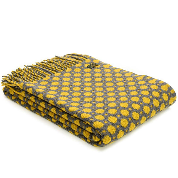 Tweedmill Throw Crossroads Solid Grey - Yellow