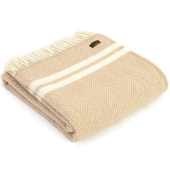 Tweedmill Throw Fishbone 2 Stripe Fawn - Cream