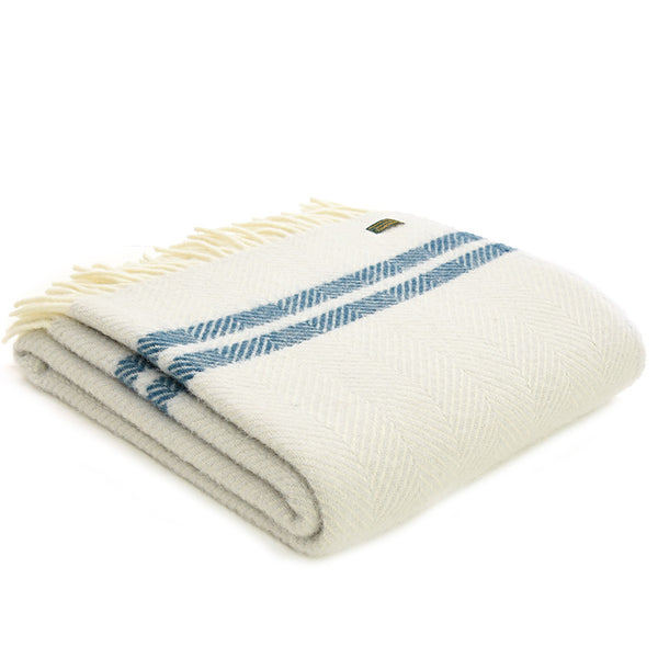 Tweedmill Throw Fishbone 2 Stripe Glacier - Ink