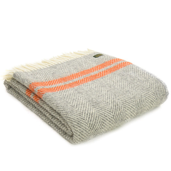 Tweedmill Throw Fishbone 2 Stripe Grey - Pumpkin