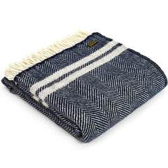 Tweedmill Throw Fishbone 2 Stripe Navy - Silver Grey