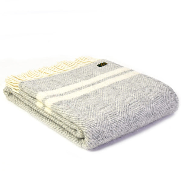 Tweedmill Throw Fishbone 2 Stripe Silver Grey - Cream
