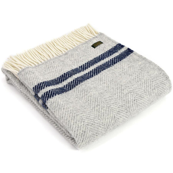 Tweedmill Throw Fishbone 2 Stripe Silver Grey - Navy