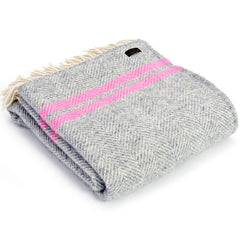 Tweedmill Throw Fishbone 2 Stripe Silver Grey - Pink