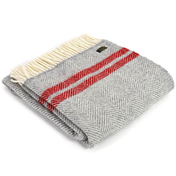 Tweedmill Throw Fishbone 2 Stripe Silver Grey - Red