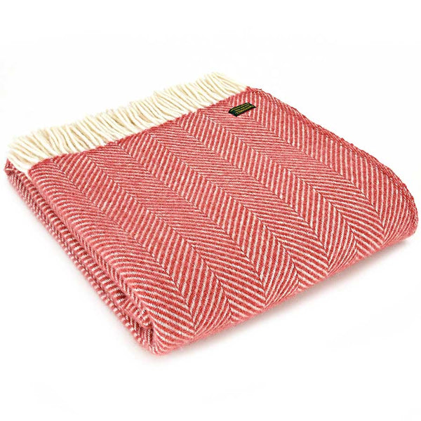 Tweedmill Throw Fishbone Cranberry