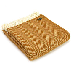 Tweedmill Throw Fishbone English Mustard