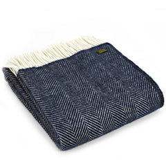 Tweedmill Throw Fishbone Navy