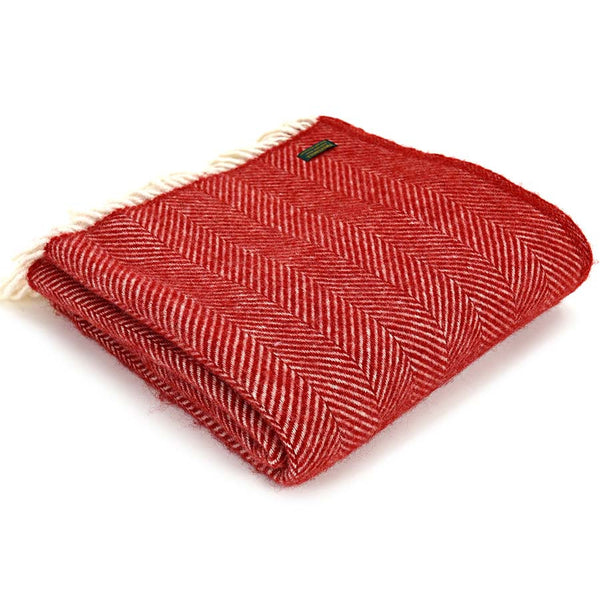 Tweedmill Throw Fishbone Red