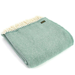 Tweedmill Throw Fishbone Sea Green