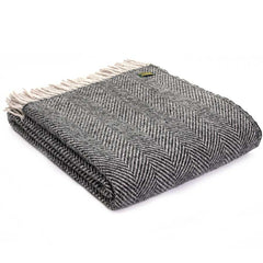 Tweedmill Throw Herringbone Charcoal & Silver