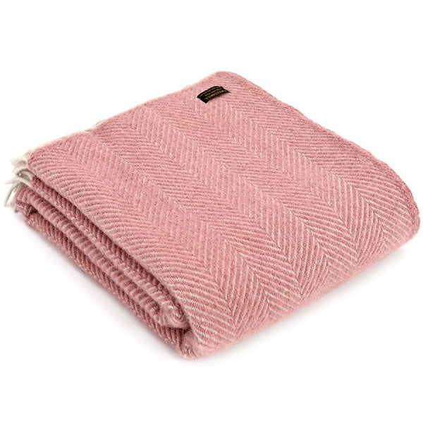 Tweedmill Throw Herringbone Dusky Pink & Pearl
