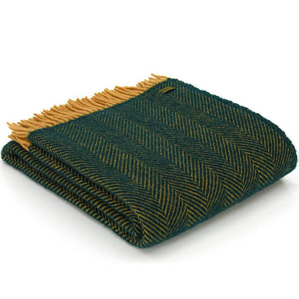 Tweedmill Throw Herringbone Emerald & Mustard